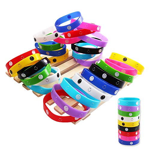 Silicone Bracelet, Emoji Bracelet,Rubber Bracelet Sports, Wristband Party Bags, Kids Bangles,Birthday Gift,Suitable for Adults and Children (9 Colors, 36 Pieces)