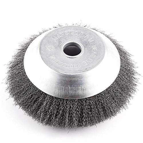 BGTOOL 6 inch Rotary Weed Brush Soft Twist Knot Steel Wire Wheel Brush Disc Trimmer Head 25.4mm x 150mm Universal fit Straight Shaft Trimmer for Stihl Honda etc
