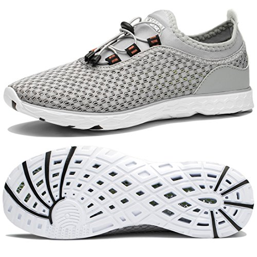 Water Sports Shoes for Mens Lightweight Outdoor Hiking River Quick Dry Aqua Shoes Beach Diving Boating Water Shoes for Men Grey 135 M US