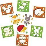 Baker Ross AW896 Pochoirs Animaux des Bois (Paquet de 6) - Loisirs créatifs pour Enfants