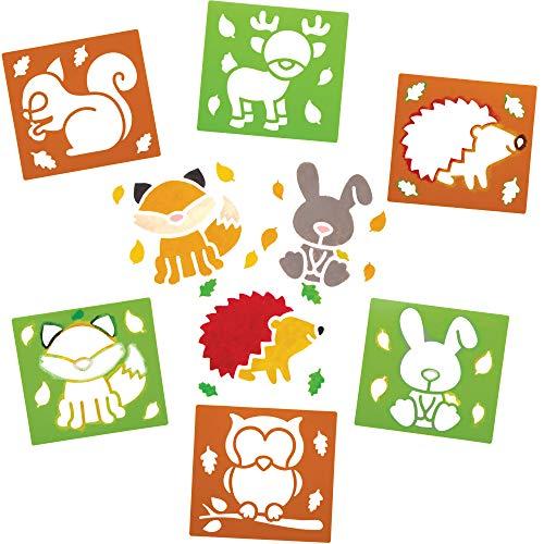 Baker Ross Stencil amici del bosco (Pacchetto di 6) - Attività Creative per bambini