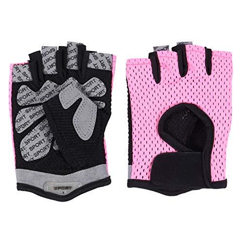 PRETYZOOM Guantes Deportivos Transpirables de Color Rosa Guantes Antideslizantes de Medio Dedo para Mujeres Y Hombres (Talla S)