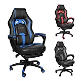 Okeysen Gaming Chair,Ergonomic High Back Office Desk Chair, Swivel Executive Computer Chair with Retractable Footrest, Lumbar Support and headrest, PU Leather Recliner Home Chair. (Blue)