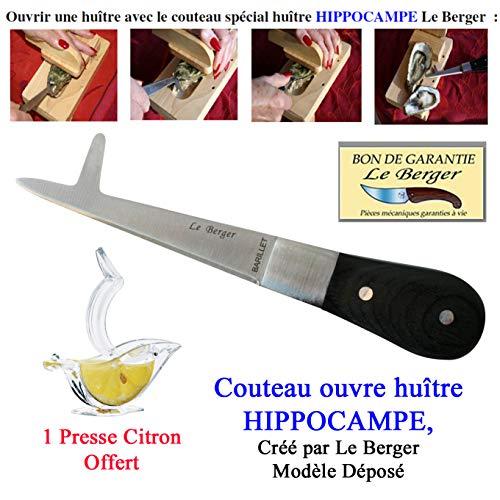 Le Berger Couteau Ouvre huître Hippocampe, Lame Double Fonction, Tranche Net Le Muscle en 1 Seul Mouvement, Sécurité, Rapidité, Efficacité Presse Citron Offert