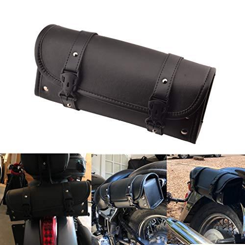 Goldfire Waterproof Motorbike Handlebar Bag PU Leather Saddlebag Front Rear Storage Tool Pouch with 2 Straps for Honda Yamaha Kawasaki Suzuki Ducati Harley Sportster (V2 Updated) (Black)