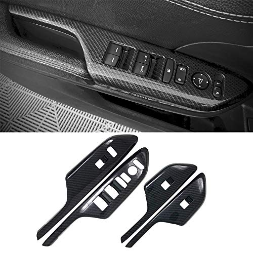 4Pcs Carbon Fiber Style Door Handle Armrest Trim Window Lift Panel Cover Trim For Honda 10th Gen Civic 2016 2017 2018 2019 2020
