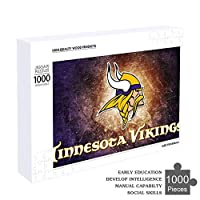 NiYoung Boys Girls Kids Large Size Wooden Puzzles for Home Entertainment, Back to School Gift - 1000 Pieces/20.5 x 15 Inch (LxW) Puzzle Minnesota-Vikings Football Team Logo Wall Ornaments