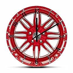 Acrylic Wall Clock Red Car Wheel Mechanic Wall Clock Modern Design Garage Car Tire Decorative Wall Watch Auto Repair Tire Shop Artwork Timepieces 12 Inchs