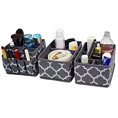 homyfort Cosmetic Storage Makeup Organizer, DIY Adjustable Multifunction Storage Box Basket Bins for Makeup Brushes, Bathroom Countertop or Dresser, Set of 3 Grey