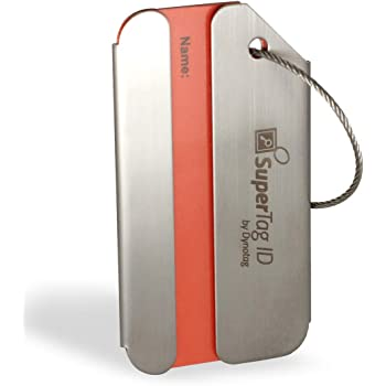 Dynotag Web Enabled Brushed Stainless Steel Smart Luggage ID Tag+ Steel Loop w. DynoIQ & Lifetime Recovery Service