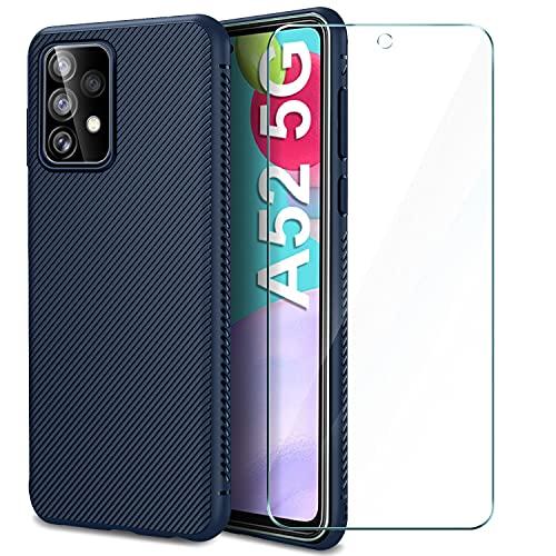 AROYI Cover Compatibile con Samsung Galaxy A52 e Pellicola Protettiva in Vetro Temperato, Silicone Custodia Slim Morbido TPU Bumper Case Antiurto Antigraffi Case Cover - Blu