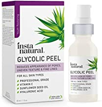 Glycolic Acid Facial Peel - With Vitamin C, Hyaluronic Acid - Best Treatment to Exfoliate Deep, Minimize Pores, Reduce Acne & Breakouts, and Appearance of Aging & Scars - InstaNatural - 1 oz