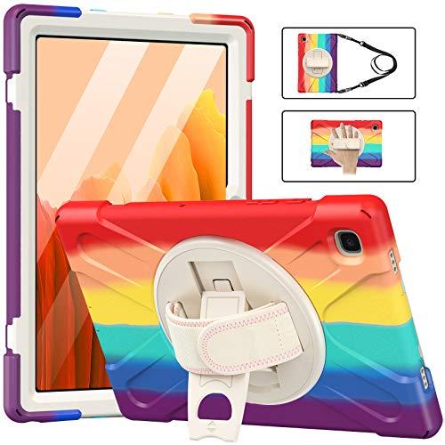 MoKo Funda Compatible con Samsung Galaxy Tab A7 10.4 Inch 2020 Model (SM-T500/505/507), Protección Antivibración Funda Resistente con Soporte de 360° Correa de Mano y Bandolera, Colorido A