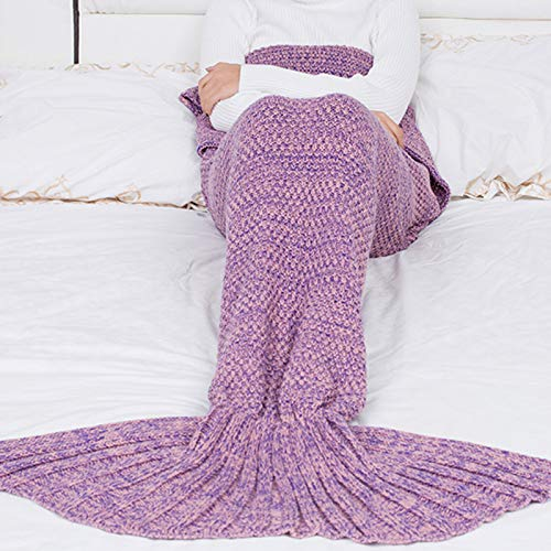 Manta de sirena, de punto de cachemira, cálida, apta para todas las estaciones, color rosa oscuro, 180 x 90 cm