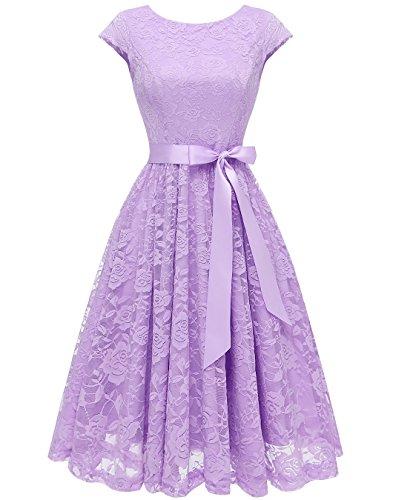 BeryLove Women's Floral Lace Short Bridesmaid Dress Cap-Sleeve Wedding Formal Party Dress BLP7016LavenderS