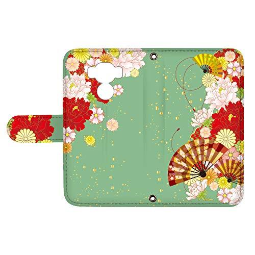 スマQ ZenFone 3 Max ZC553KL 国内生産 ミラー スマホケース 手帳型 ASUS エイスース ゼンフォン スリー マックス 【D.グリーン】 和風 扇子 花柄 お花 ami_vc-533_sp