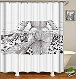 JUAN Cortina de baño a Prueba de Agua Todo Tipo de Ondas Gigantes Digitales Tinta Pintura Color Elefante Piscina Rana Impermeable, 165 * 180 cm, Piscina