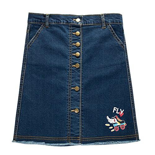 UNACOO Girls' Botton Front Cut-Off Denim Skirt A-line Short Jeans Skirt (Dark Blue/Roller, m(7-8Y))