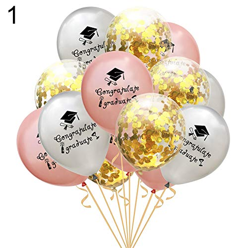 Latex folie ballonnen, KimcHisxXv 15 stks 12 inch felicitatie Graduate pailletten Latex Balloon Festival Party Decor - 1 1