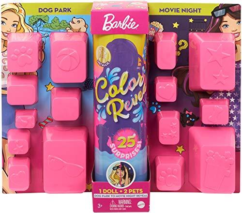 Barbie Color Reveal del Parque al Cine, muñeca que revela sus colores con agua, incluye ropa y accesorios (Mattel GPD56)