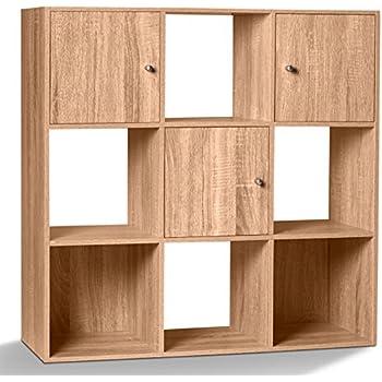 Idmarket Meuble De Rangement Cube 9 Cases Bois Facon Hetre Avec 3 Portes Amazon Fr Cuisine Maison