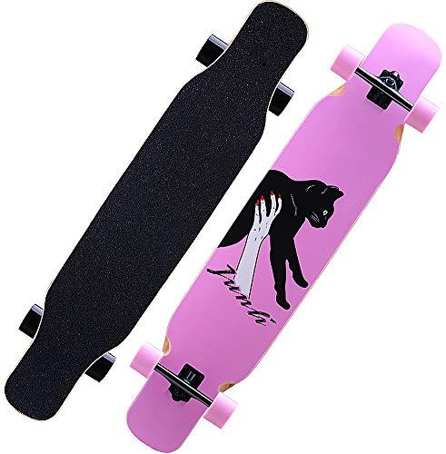 MQLOON Longboard Skateboards Skateboard completo Cruiser Dancing Longboard in legno d acero, freeride per giovani, adulti, bambini, principianti, adulti, ragazzi e ragazze (108 cm nero)