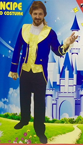 Disfraz de Príncipe, azul, La Bestia, Adulto. Tallas M., L. y XL.. (M)