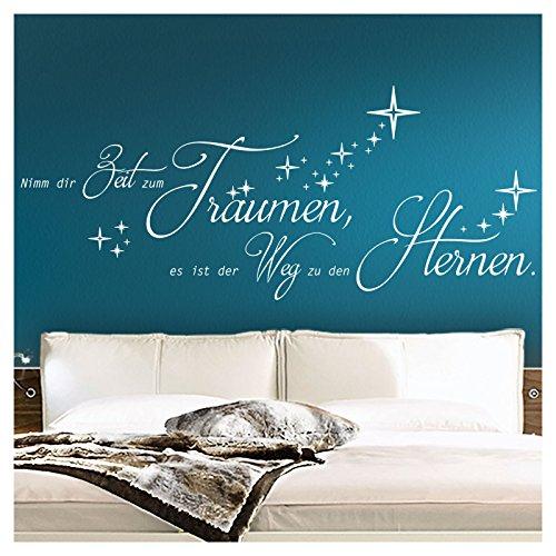 Wandaro Wandtattoo Zitat Nimm dir Zeit zum Träumen I weiß (BxH) 174 x 72 cm I Weg zu Sternen Schlafzimmer Aufkleber Wandsticker Wandaufkleber Sticker W3294
