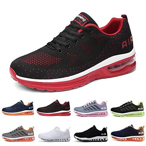 Zapatillas Running Hombre Mujer Deportivas Air Zapatos Deportivos Transpirables Sneakers Calzado Deporte Correr Gimnasio Aire Libre Tenis Asfalto Negro Blanco 835RojoNegro 41