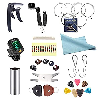 slinky electric guitar e strings 9-42 bulk learning restringing tool cutter tuners winder pin puller notes accessories change kit for beginners and guitar nut metal pick case capo slide bridge set…