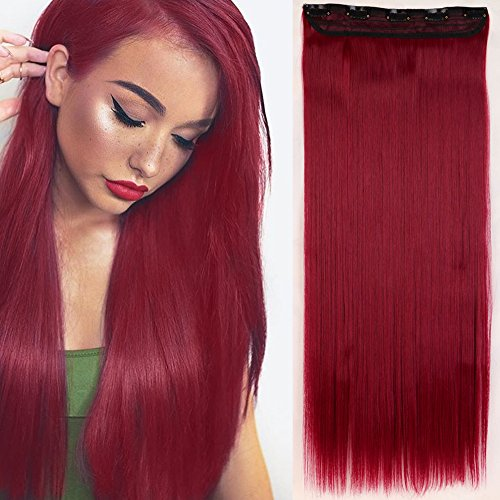 66cm Haarteil Clip in Extensions 1 Tresse 5 Clips Haarverlängerung Human Hair wie Echthaar Glatt Lila Rot 26