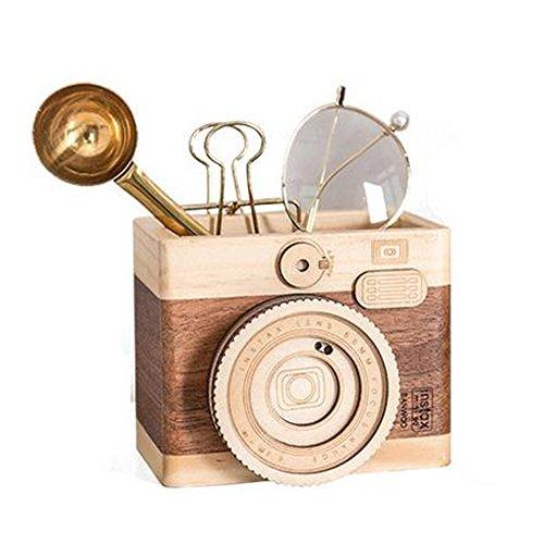 Obling Wood - Portalápices de madera hecho a mano, diseño creativo, color multicolor B