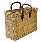 Simandra Einkaufskorb aus Seegras I geflochtene Tasche mit Ledergriff I groß mit kurzem Griff I Natur
