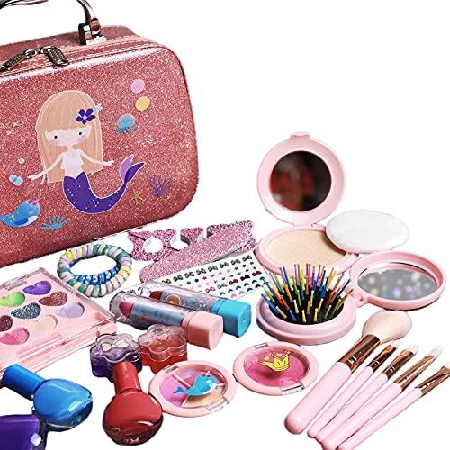 Richolyn 22 Piezas Juego De Maquillaje para Niñas Lavable Set De Maquillaje para Niñas con Estuche De Maquillaje Seguro Kit De Maquillaje para Niños, Fiestas De Cumpleaños De Navidad, Principiantes