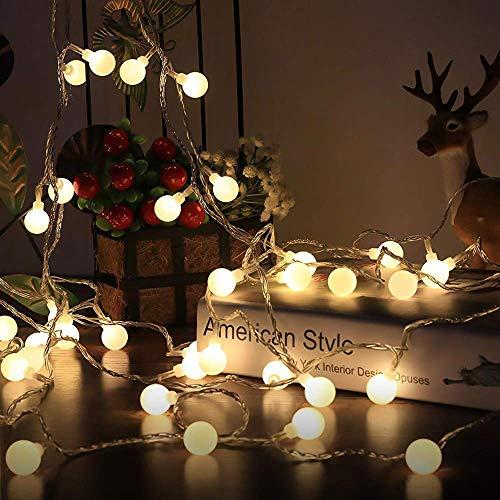 Tira led, GLURIZ 50LED Cadena de Luces bolas led decorativas, Guirnalda Luces, Impermeable 8 Modos, Guirnaldas Luminosas para Exterior,Interior,Jardines Fiesta de Navidad-Blanco Cálido