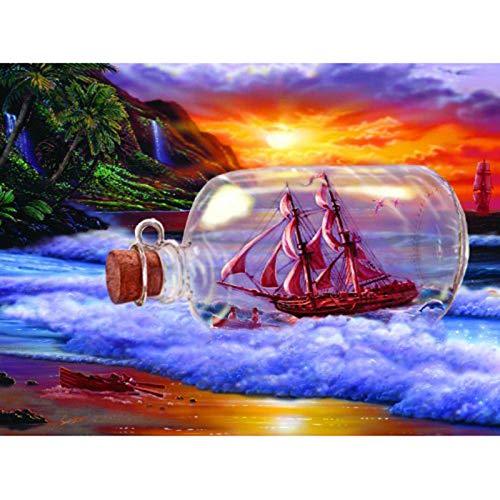 Kit de pintura de diamantes, botella de bricolaje, barco 5D, pintura de diamantes, para...