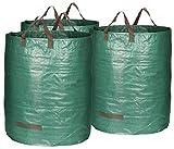 com-four® 3X Gartensack mit Tragegriffen - Faltbarer Gartenabfallsack - Reißfeste Falttonne für...