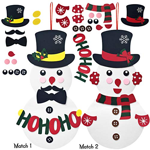 EAXER DIY Felt Snowman with 30 PCS Detachable Ornaments for Kids, Set of 2 Snowmen for Christmas & New Year, Home Window Door Wall Hanging Decorations Children's Felt Craft Kits Party Supplies Gifts