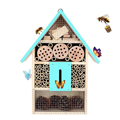 KISSTAKER Hanging Insect House for Gardens Perfect Habitat for Ladybugs(Ladybirds), lacewings, Butterfly, Mason Bees, Solitary, Leaf Cutter