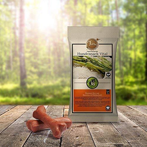 Tiera Vital fleischlose Hunde Leckerlies Basmati Reis Snack L mit Karotten & Wildlachsöl 2 x 100 g