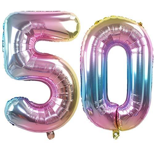 Ouinne Globo 50 Años, 32 Pulgadas Globo del Cumpleaños Número 50 Helio Globos para La Decoración Boda Aniversario (Rainbow)