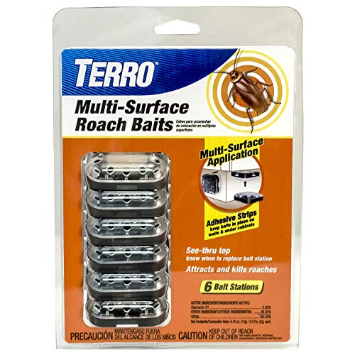 small Terro T500 Multi-Surface Roach Killer 6 Baits, 1 Pack, Black