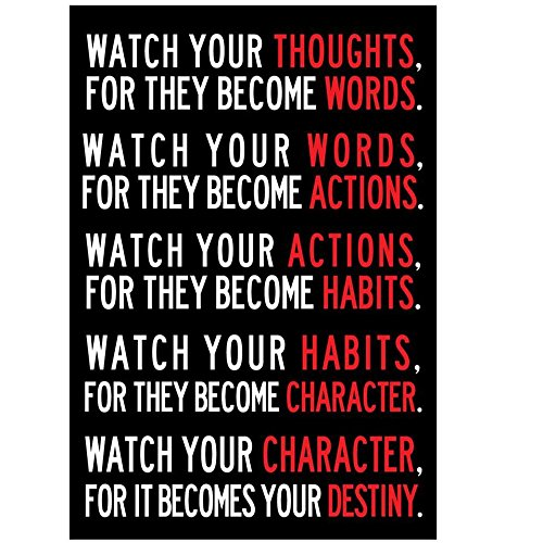 Watch Your Thoughts Motivational Classroom Poster Modern Canvas Prints Wall Art Paintings Ready to Hang for Office Living Room Home Decorations Stretched Pictures Artwork