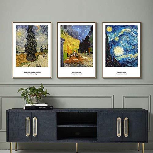 qggbgv Van Gogh Toile abstraite peinture Nuit étoilé café terrasse la Nuit paysage mur Art affiche Photos pour Salon décor 50X70X3 cmSans Cadre