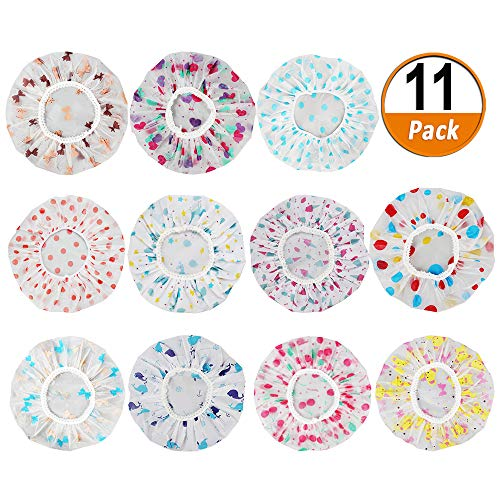 11 Pieces Waterproof Shower Caps Elastic Reusable Plastic Bathing Hair Cap Lady Salon Hat for Kids Girls and Women, Assorted Patterns