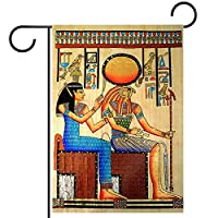 春夏両面フローラルガーデンフラッグウェルカムガーデンフラッグ(28x40in)庭の装飾のため,エジプトのパピルス ホルス
