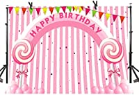 Zhyピンクキャンディブリッジ背景7X5FT甘いロリポップ子供誕生日女の子プリンセス写真背景YouTubeフォトスタジオプロップ壁紙LLST171