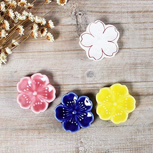 LXZSP Soportes de cerámica para Palillos, Estilo japonés, Estilo japonés, con Flores de Cerezo, Palillos, Cuchara, Tenedor, vajilla, Cuchara, 4 Colores, Mashup 4 Piezas