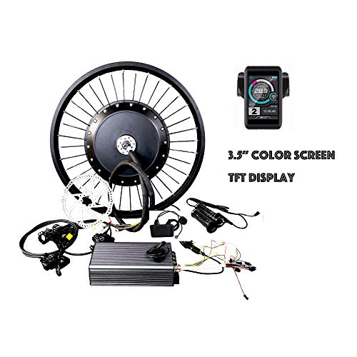 "theebikemotor 19"" Motorcycle Rear Wheel 72V8000W Hub Motor Electric Bike Conversion Kit Elektro-Fahrrad Umbausatz 150Amp Sine Wave Controller (Bluetooth Only, No Hydraulic Disc Brake)"