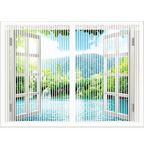 Magnet Fliegengitter Fenster , Magnetvorhang ist Ideal Für die Balkonfenster , Kellerfenster und Terrassenfenster , Kinderleichte Klebemontage-150x90cm(59x35inch)